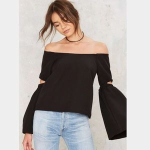 re:named Off The Shoulder Black Top Cutout Sleeves